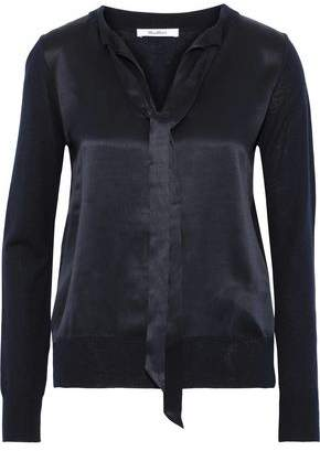 Max Mara Sibari Satin-paneled Silk And Cashmere-blend Sweater