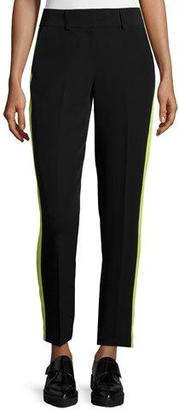 Milly Slim-Leg Tuxedo Trousers W/Contrast Stripe, Black/Citron $340 thestylecure.com