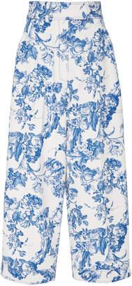 Oscar de la Renta Floral Cropped Trouser