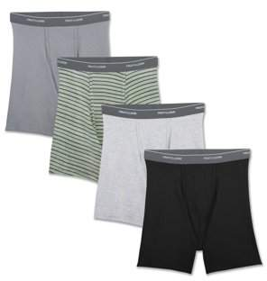 Fruit of the Loom Big Men's Support Pouch Assorted Dual Defense Boxer Briefs, 4 Pack