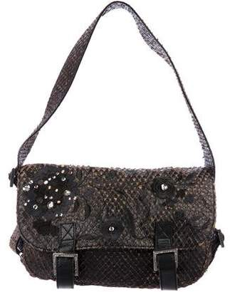 John Galliano Python Embroidered Shoulder Bag