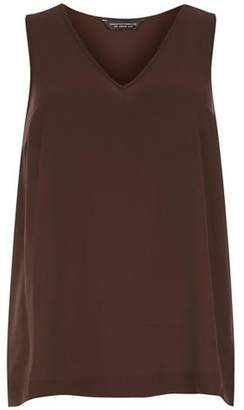 Dorothy Perkins Womens Chocolate V-Neck Shell Top