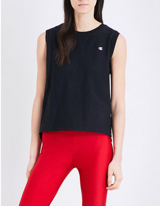 Champion Logo-embroidered sleeveless cotton-jersey top $31.50 thestylecure.com