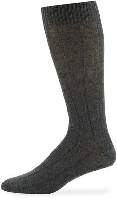 Neiman Marcus Men's Cashmere Dress Socks, Charcoal