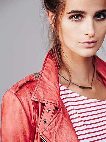 Doma Red Moto Leather Jacket