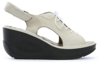 Fly London Jart White Leather Lace Up Wedge Sandals