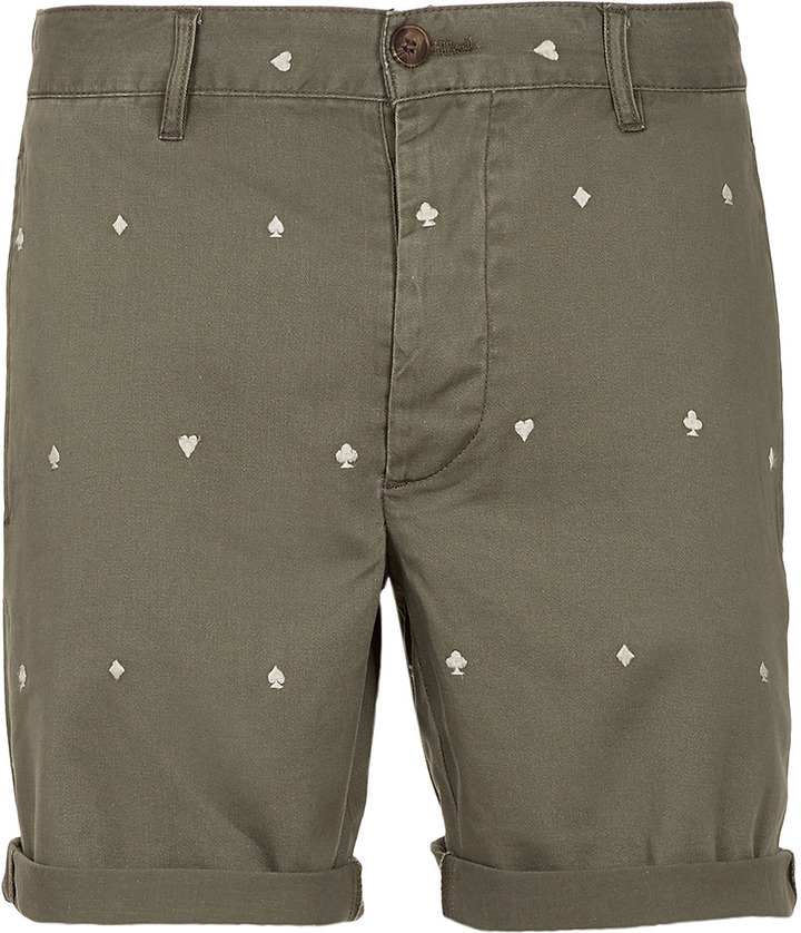Topman Green Embroidered Shorts
