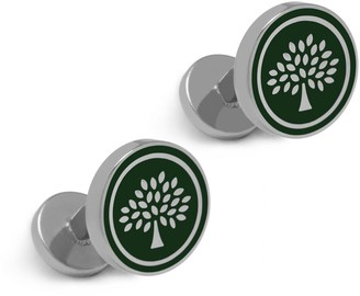 Mulberry Round Tree Cufflinks Racing Green Enamel Coated Brass
