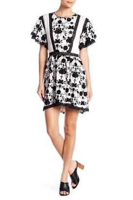 Joie Gaetena Bell Sleeve Crochet Flower Dress