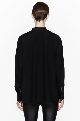 3.1 Phillip Lim Black and white biker-collared Asymmetric Drape blouse