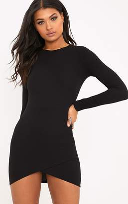 PrettyLittleThing Black Long Sleeve Wrap Skirt Bodycon Dress