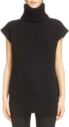 Alexander McQueen Split Back Wool & Cashmere Turtleneck Sweater