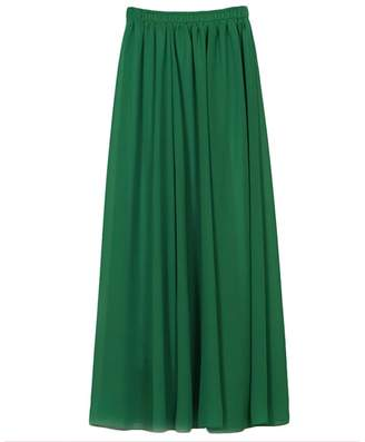 IBTOM CASTLE Women Full/Ankle Length Elastic Pleated Retro Maxi Chiffon Long Ethereal Skater Flare Skirt Beach Vintage High Waist Dress L