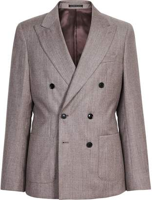 Reiss Welder - Wool Double Breasted Blazer in Taupe
