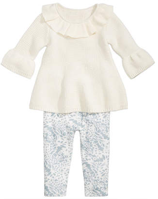 First Impressions Baby Girls 2-Pc. Sweater & Printed Leggings Set, Created for Macy's