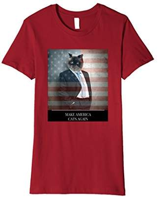 Make America Cats Again T-Shirt | Funny Cat American Flag