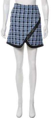 Derek Lam Tweed Leather-Accented Skirt