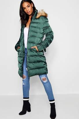 boohoo Tall Faux Fur Trim Hooded Padded Coat