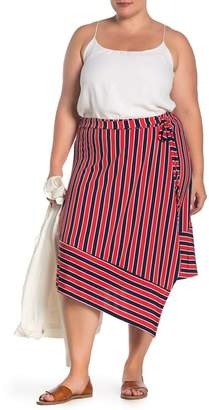 6d6272e67f5350 WEST KEI Striped Asymmetrical Tie Waist Skirt (Plus Size)