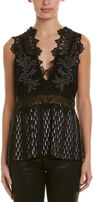 Yigal Azrouel Studded Leather-Trim Top