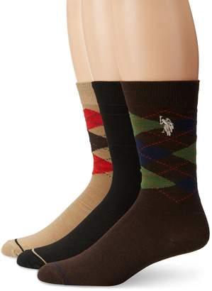 U.S. Polo Assn. Men's 3 Pack Classic Argyle Crew Sock