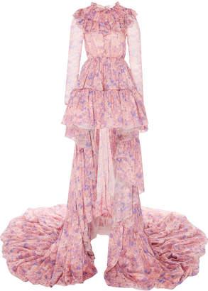 Giambattista Valli Ruffled Floral Print Silk Chiffon Gown