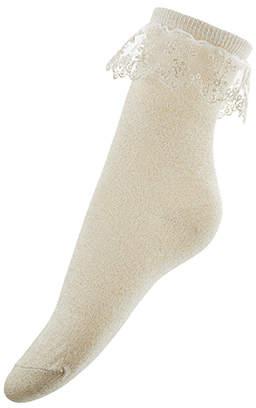 Monsoon Girl Sparkle Flower Lace Socks