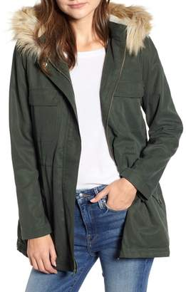 Cupcakes And Cashmere Faux Shearling Lined Anorak with Removable Hood