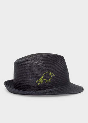 Paul Smith Men's Dark Navy 'Hello' And 'Bird' Embroidered Panama Straw Hat