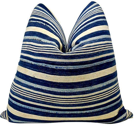 Burkina Faso Indigo Striped Pillow