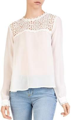 The Kooples Lace-Inset Silk Top