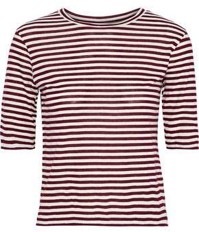 Vince Striped Silk-blend Jersey T-shirt