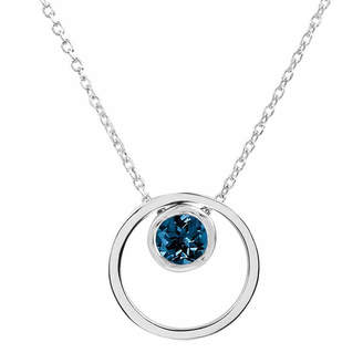 FINE JEWELRY London Blue Topaz Sterling Silver Double Circle Pendant Necklace
