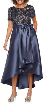 R & M Richards Short Sleeve Beaded Evening Gown