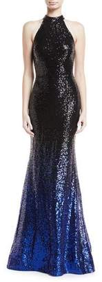 Jovani High-Neck Ombré Sequin Trumpet Gown