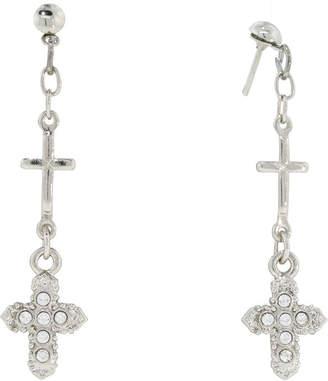 clear 1928 Jewelry 1928 Religious Jewelry Brass Cross Drop Earrings