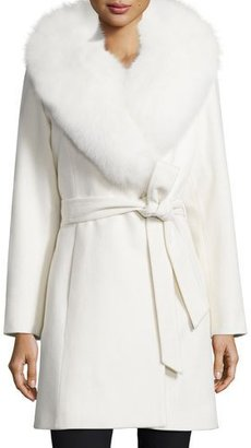 Sofia Cashmere LS FOX FUR COLLAR SHORT WRAP $1,595 thestylecure.com