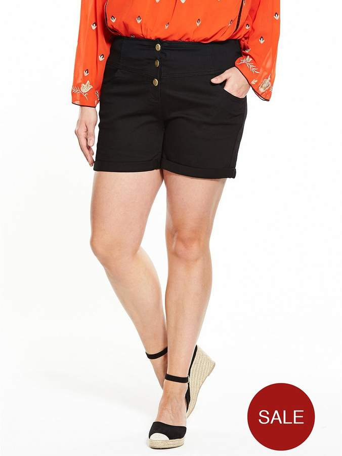 V By Very Curve CURVE Bodysculpt High Waisted Shorts - Black
