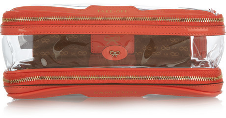 Anya Hindmarch In-Flight patent leather-trimmed travel case