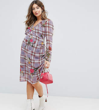 97551f04af8 Asos Floral and Check Midi Dress with Tie Side Channelling Detail