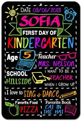 DAY Birger et Mikkelsen Honey Dew Gifts Large First of School Chalkboard Style Photo Prop Tin Sign 12 x 18 inch - Reusable Easy Clean Back to School - Customizable with LIQUID CHALK MARKERS (Not Included)