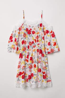 H&M Open-shoulder Dress - White
