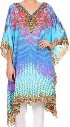 Miu Miu Sakkas SS1651 KF28035A - ShortCaftan MiuMiu Ligthweight Summer Printed Short Caftan Dress / Cover Up - Turquoise / Multi - OS