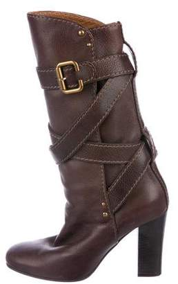 Chloé Wrap-Around Leather Mid-Calf Boots