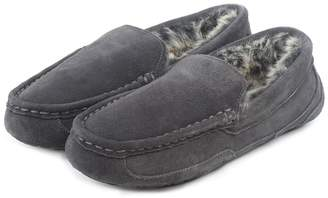 Isotoner Mens Heritage Suede Moccasin Boxed Slippers