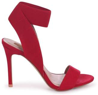 6f970e75f003 Linzi Crystal Red Suede Stiletto Heel With Elasticated Upper