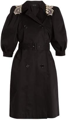 Simone Rocha Embellished Collar Belted Cotton Blend Trench Coat - Womens - Black Beige