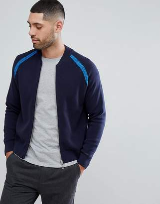 Paul Smith Zip Through Chunky Textured Knitted Bomber In Navy