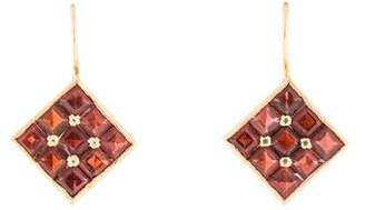 14K Garnet Drop Earrings