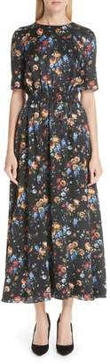 ADAM by Adam Lippes Floral Print Hammered Silk Dress